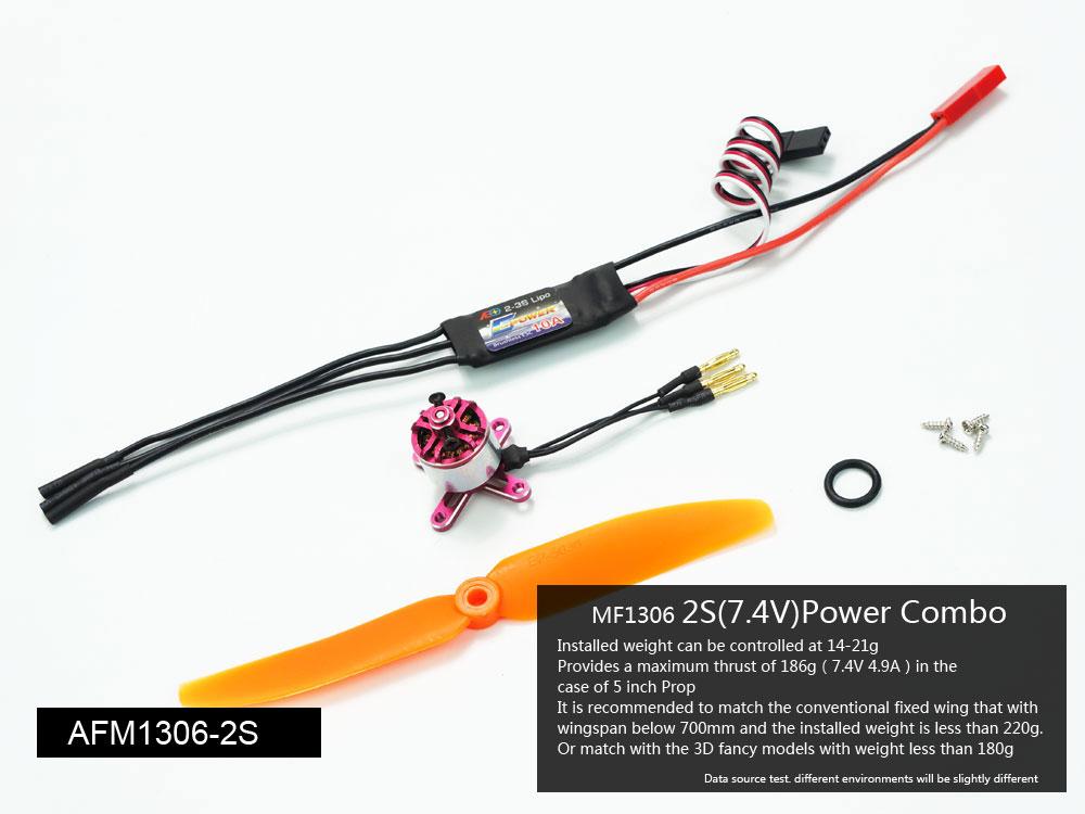 AEORC AFM1306 2S Mini Power System Combo Set MF1306 2700KV Brushless Motor With 10A ESC 5030 Propeller 2.5g Servo