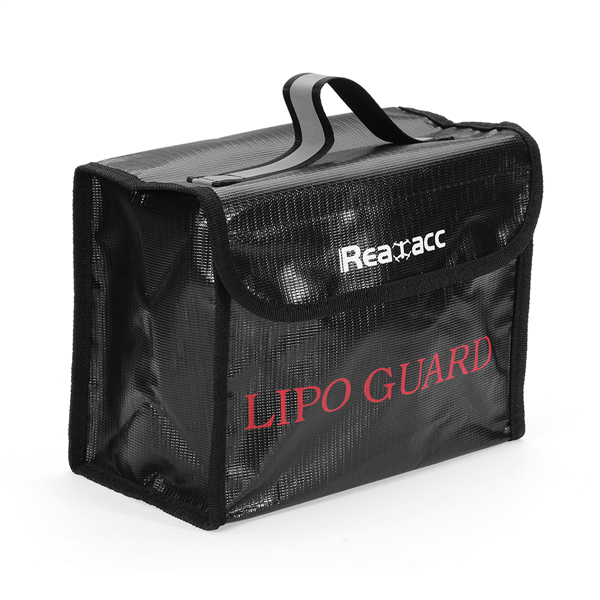 Upgraded Realacc Fireproof LiPo Battery Safety Bag 215x155x115mm With Luminous Handle