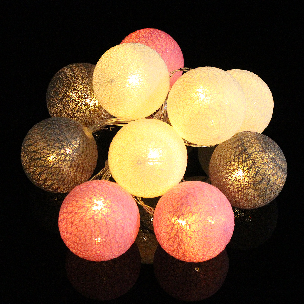 Battery Powered 10LED Cotton Ball String HoliDay Light Lamp for Wedding Valentine's Day