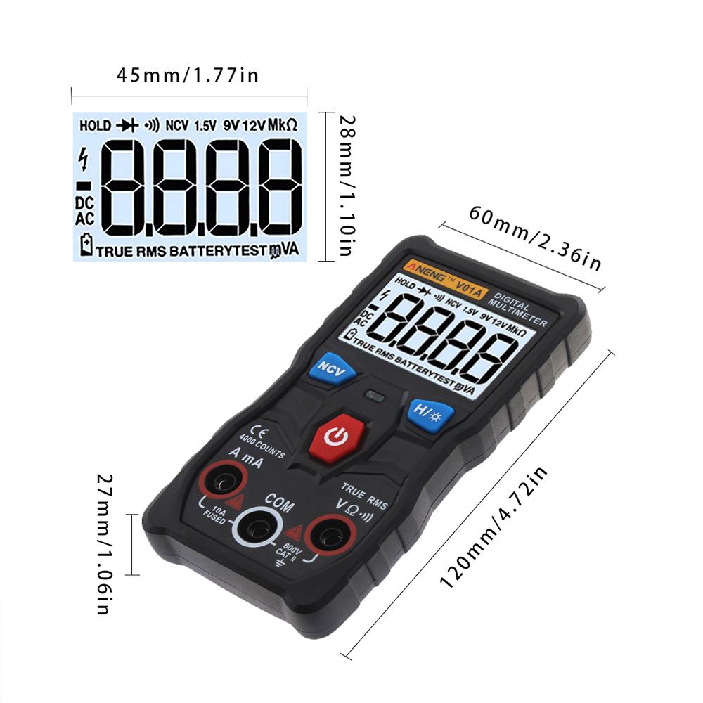 ANENG V01A Digital True RMS Multimeter Tester Autoranging Automotriz Multimeter With NCV Data Hold LCD Backlight+Flashlight