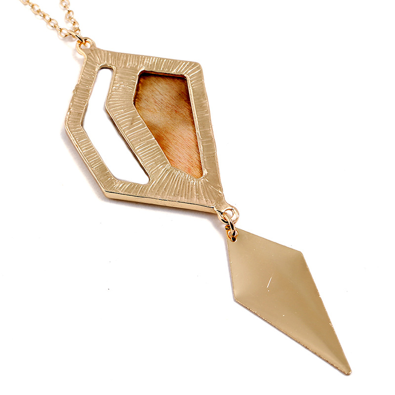 Fashion Geometric Drop Long Necklace Simple Wood Pendant
