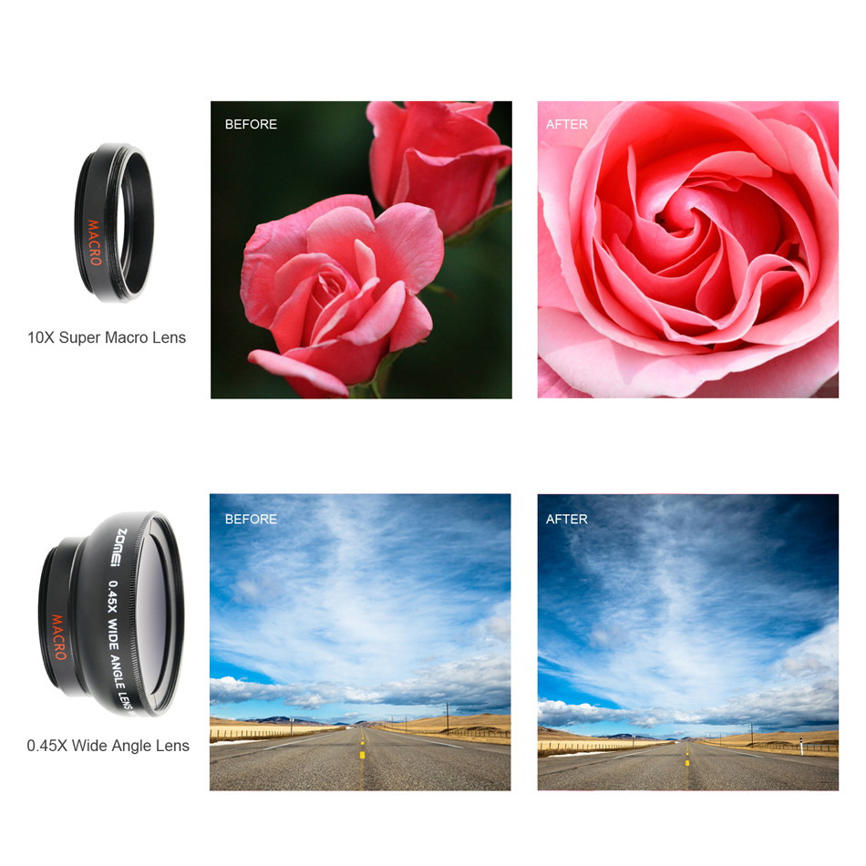 ZOMEI Glory G1 37mm 0.45x Wide Angle 0.42x Fish Eyes Lens for Iphone HTC Huawei IOS Android Phone