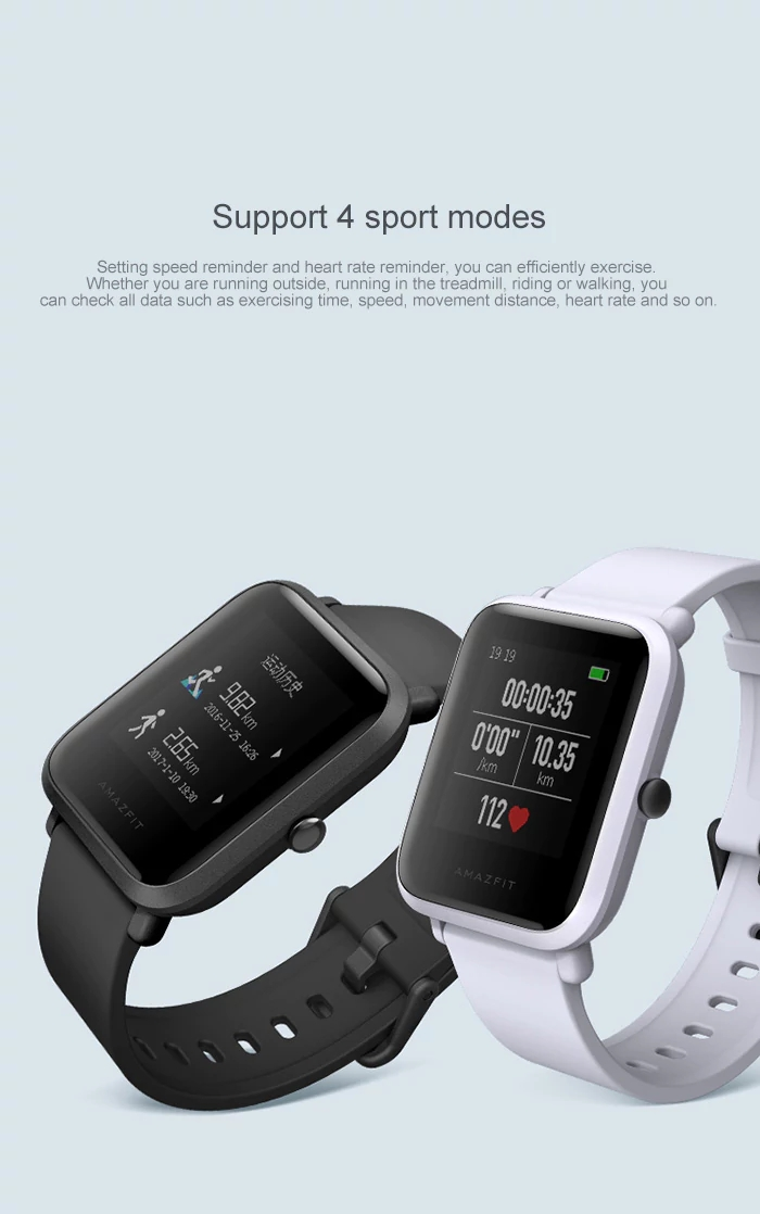 Original Xiaomi AMAZFIT Bip Pace Youth GPS bluetooth 4.0 IP68 Waterproof Smart Watch Chinese Version