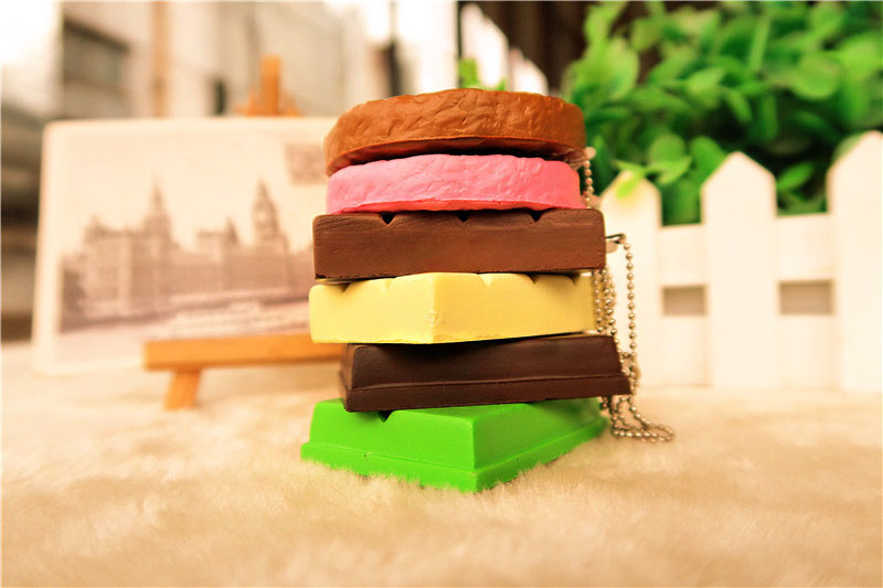 Squishy Crack Chocolate Bar Biscuit Cracker 5.5x1x6cm Sound With Packaging Collection Gift Decor Toy