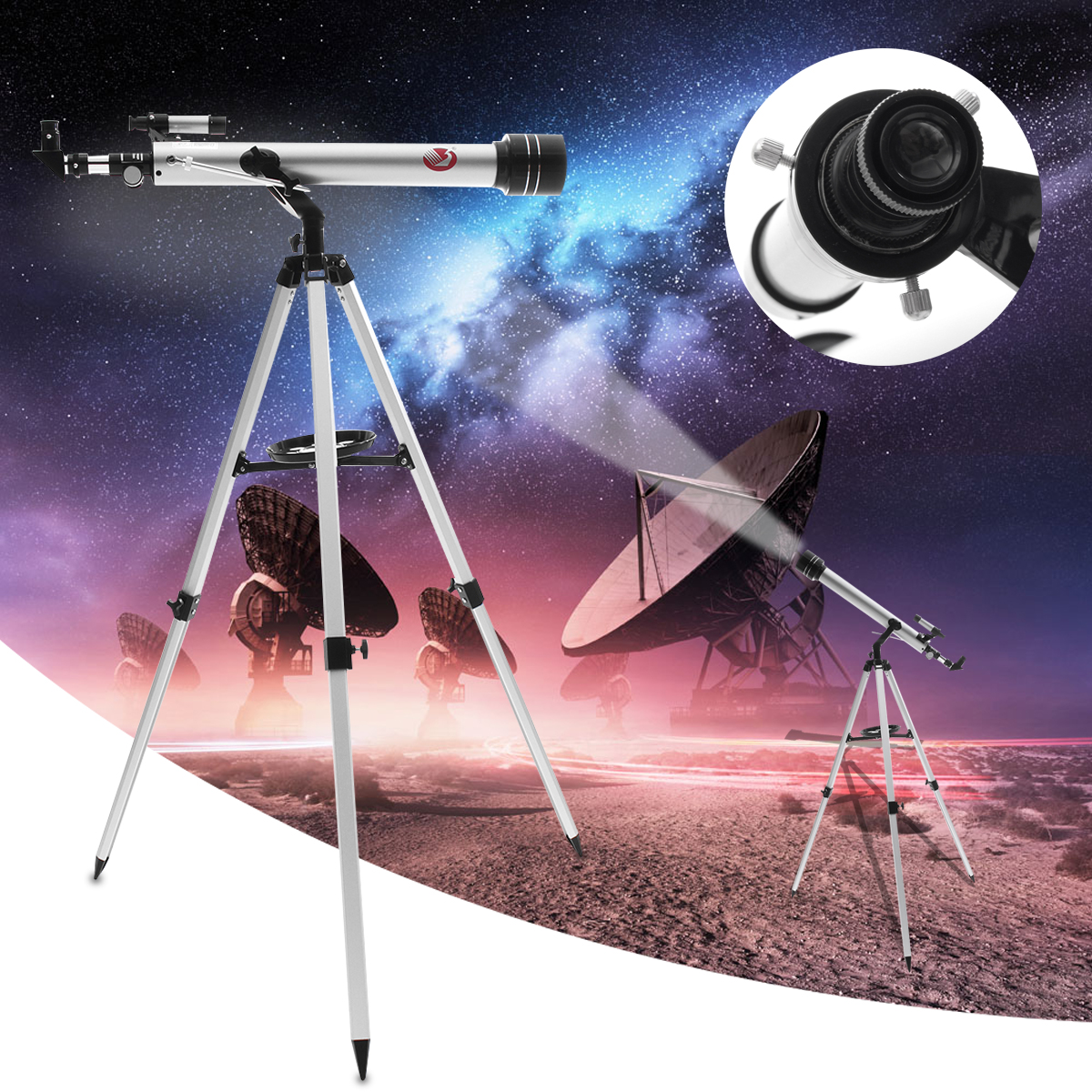 700/60mm 525X Professional Refractive Astronomical Telescope Tripod Eyepiece