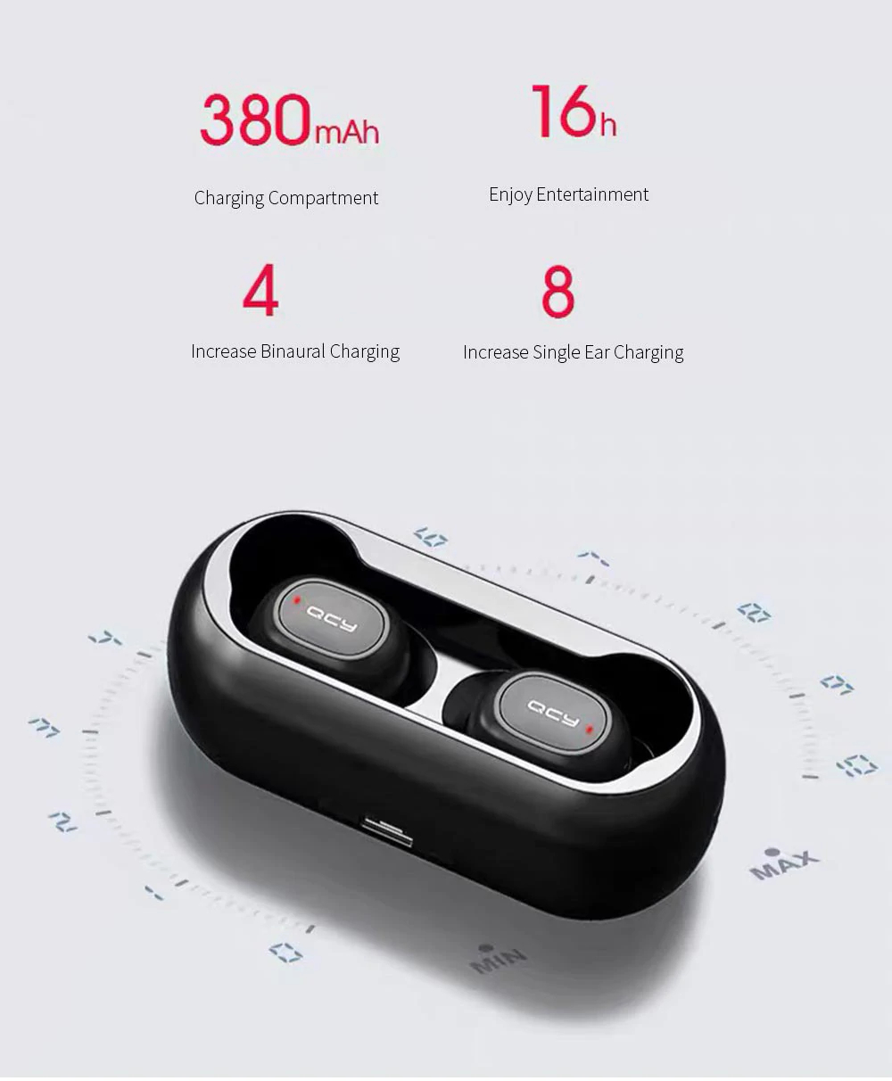 [bluetooth 5.0] QCY T1C TWS True Wireless Earphone HiFi Stereo Dual Mic Headphone with Charging Box from xiaomi Eco-System