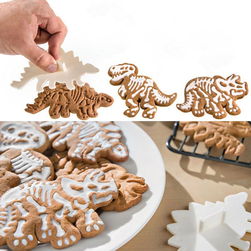 3Pcs / Set Cute Dinosaur Shaped Cookie Cutters Tools Ki