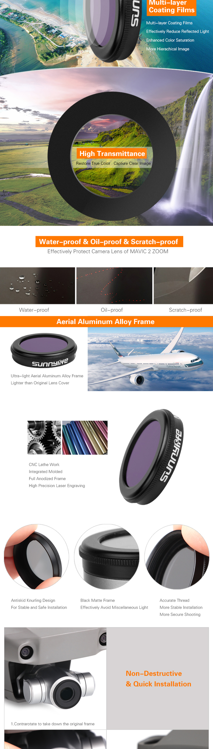 1PC ND4 ND8 ND16 ND32 CPL MCUV Single Camera Lens Filter for DJI MAVIC 2 ZOOM RC Drone