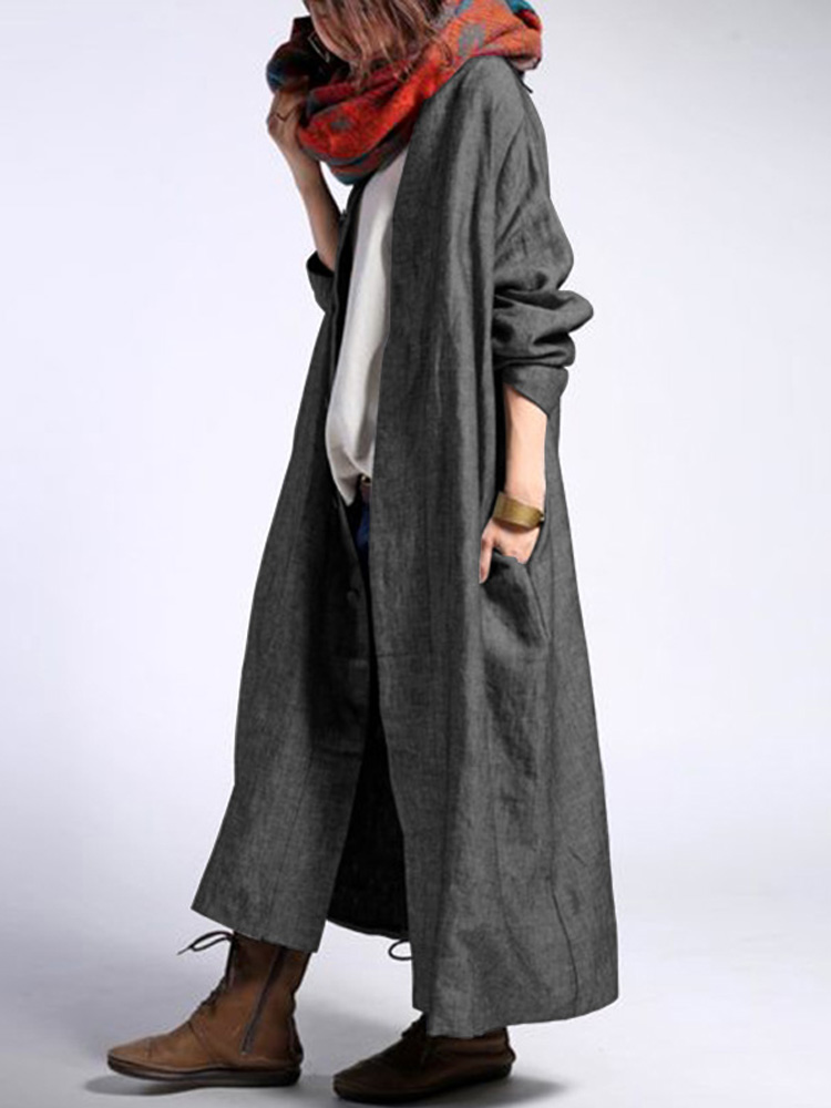 Women Long Sleeve Button Front Open Solid Color Cardigan Maxi Coats
