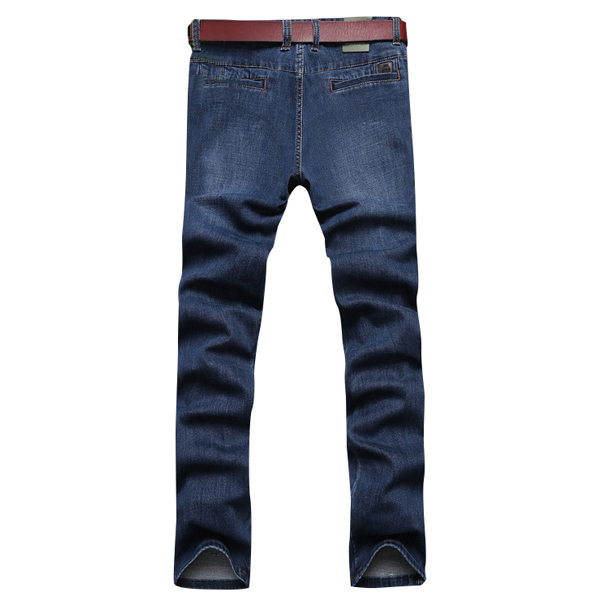 Mens Mid Waist Cotton Straight Legs Outdoor Casual Jeans Solid Color Denim Pants