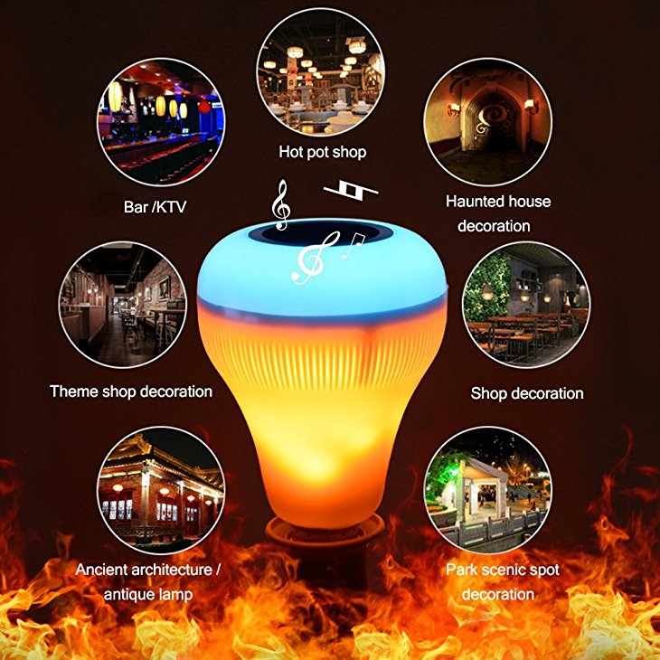 E27 18W RGBW bluetooth Speaker Music Play LED Light Bulb with Flame Effect +Remote Control AC220V