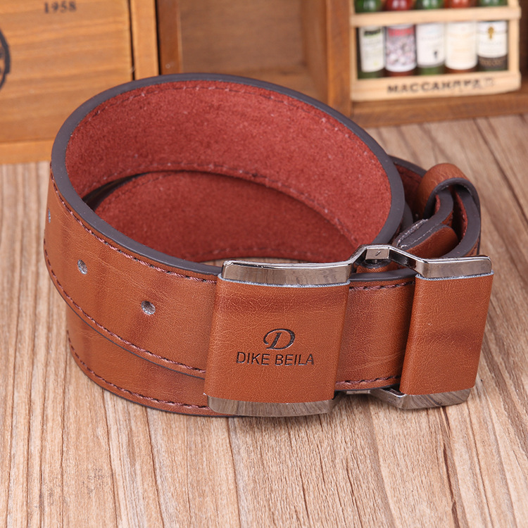 Mens Business Casual Alloy Buckle Waistband Strap Smooth Buckle Leather Belt