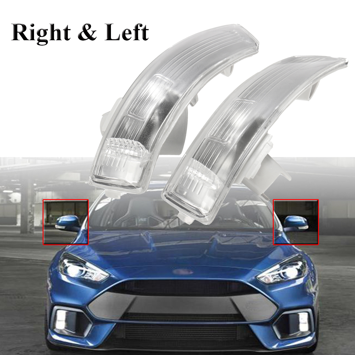 Side Wing Mirror Indicator Lights Turn Signal Lamp Clear Lens Right/Left for Focus Mondeo 2008-2016