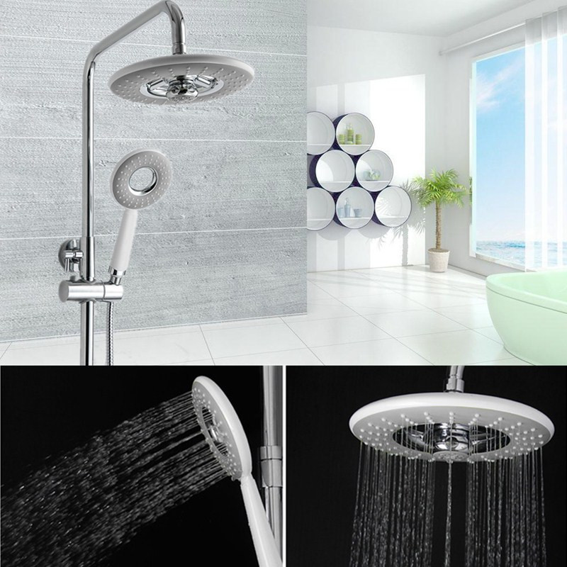 Bathroom ABS Water Saving Round Rainfall Top Shower Set With Hand Held Shower Head