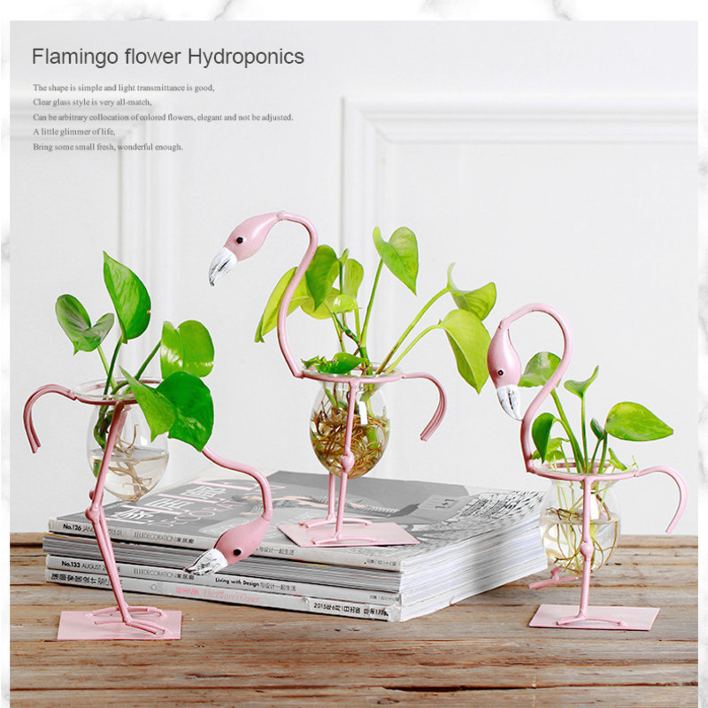 Flamingo Hydroponic Container Ins Wind Creative Decoration Home Furnishings Living Room Table Decoration Green Rose Vase Art