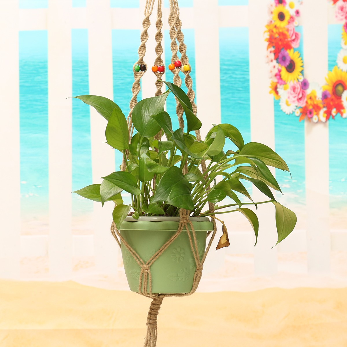 42 Inch Colour Bead Flower Pot Plant Hanger Macrame Jute Rope Garden Decorative Cord with Hook