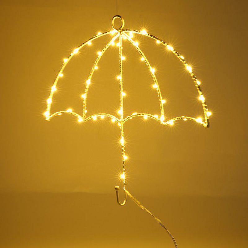 Led Umbrella Modeling Iron Lamp Decorative Wall Hangings Night Lights Hot Selling Umbrella Lamp On Wall LED Night Light Christmas Wedding Decoration Curtain Lights