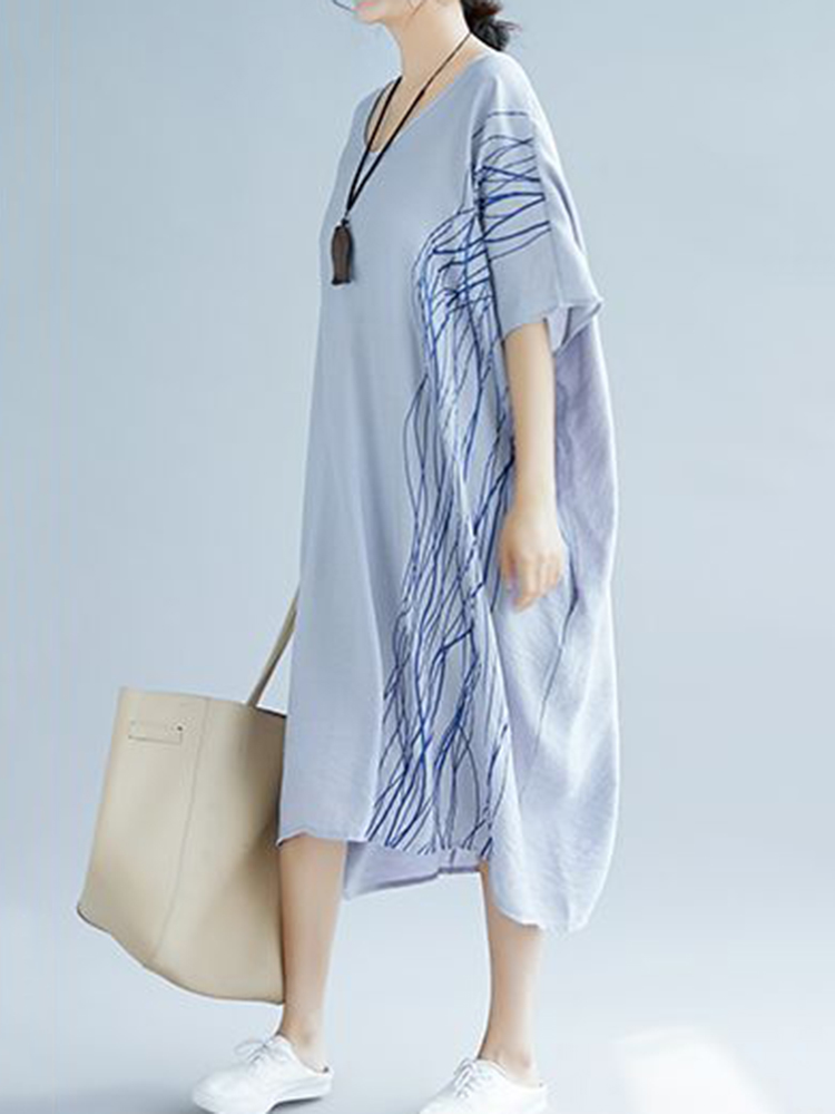 Women Oversized Patchwork Line Half Sleeves Loose Dress