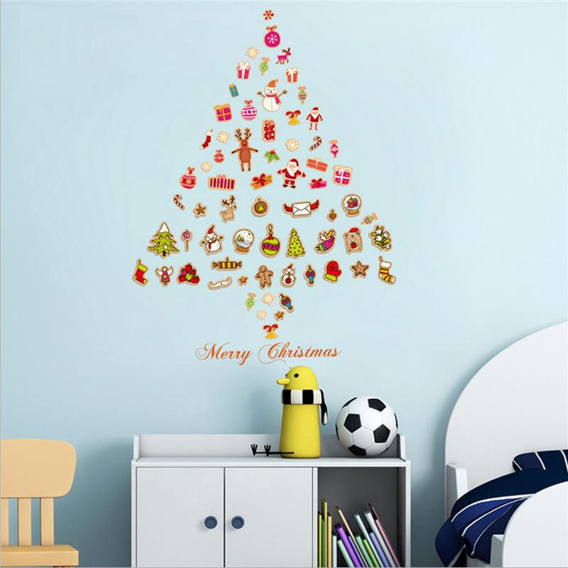 Christmas Party Home Decoration Multiple Element Merry Christmas Window Stickers Kids Children Gift
