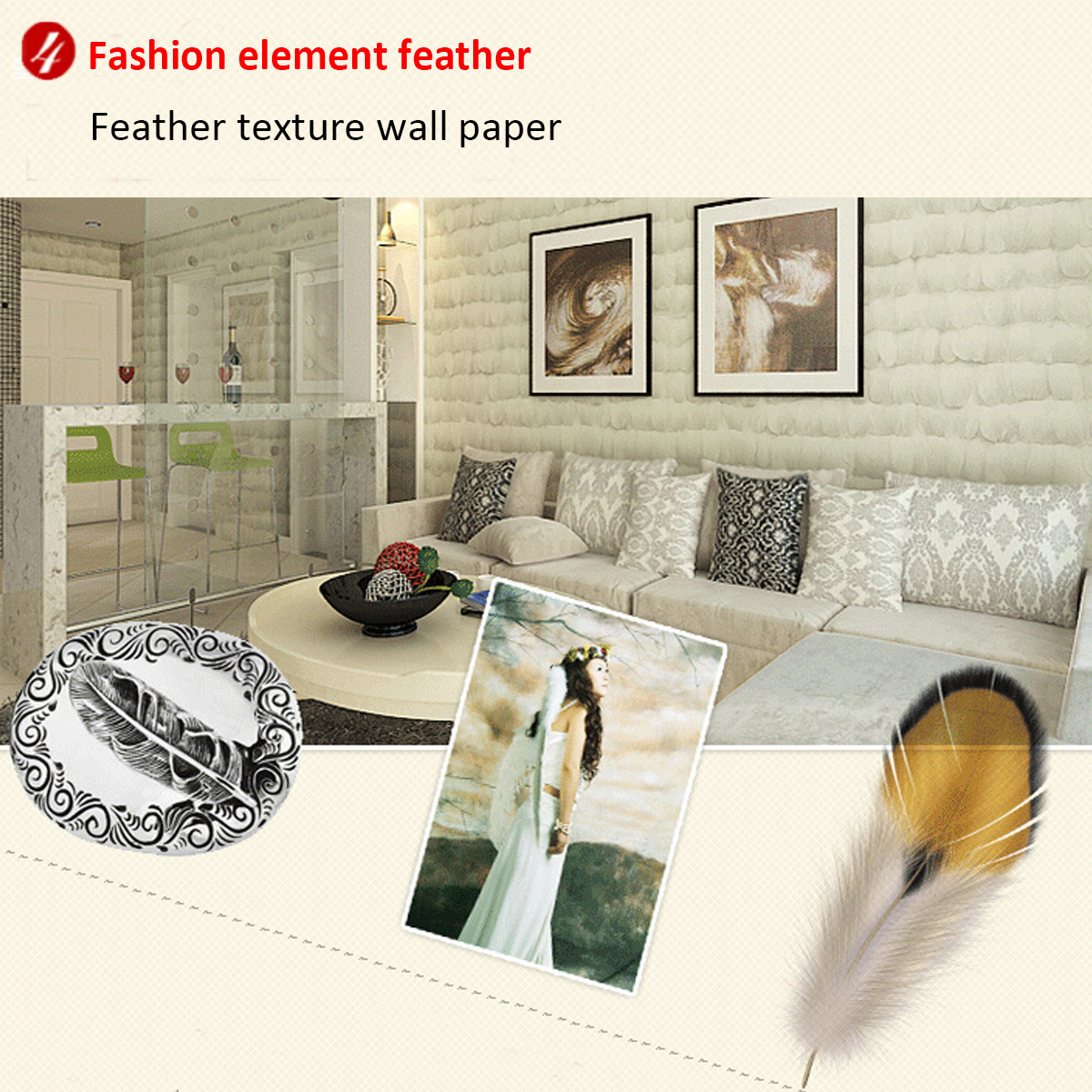 10m Non-woven Feather Wallpaper Living Room Bedroom Background Decoration Home Improvement Decor