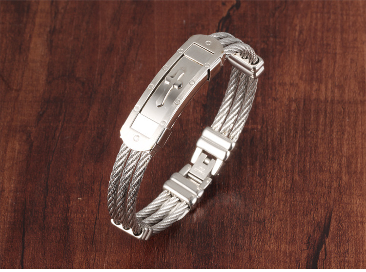 316L Stainless Steel Cross Bracelet Wristband Jewelry Best Gift For Men