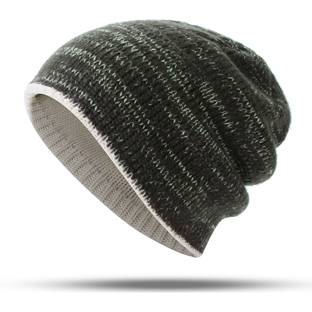 63daa115ac194 double-sided wearing double-layer knit hat beanie cap at Banggood