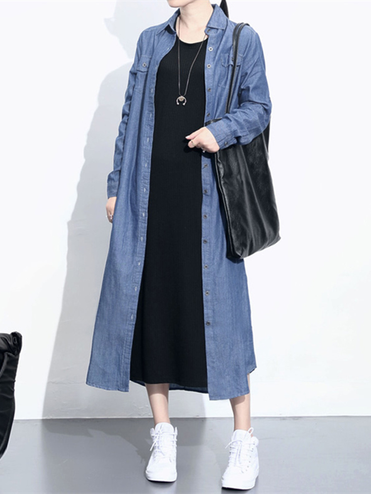 Women Long Sleeve Button Down Denim Shirt Dress