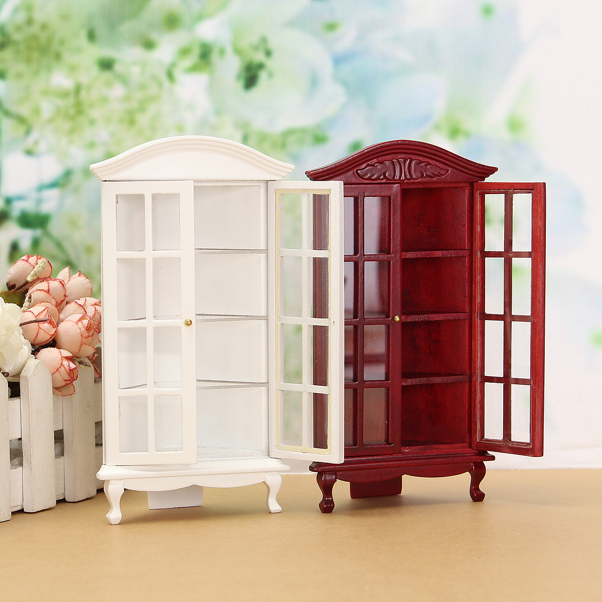 1/12 Dollhouse Miniature Furniture Modern White Red Wooden Display Cabinet Doll House Accessories