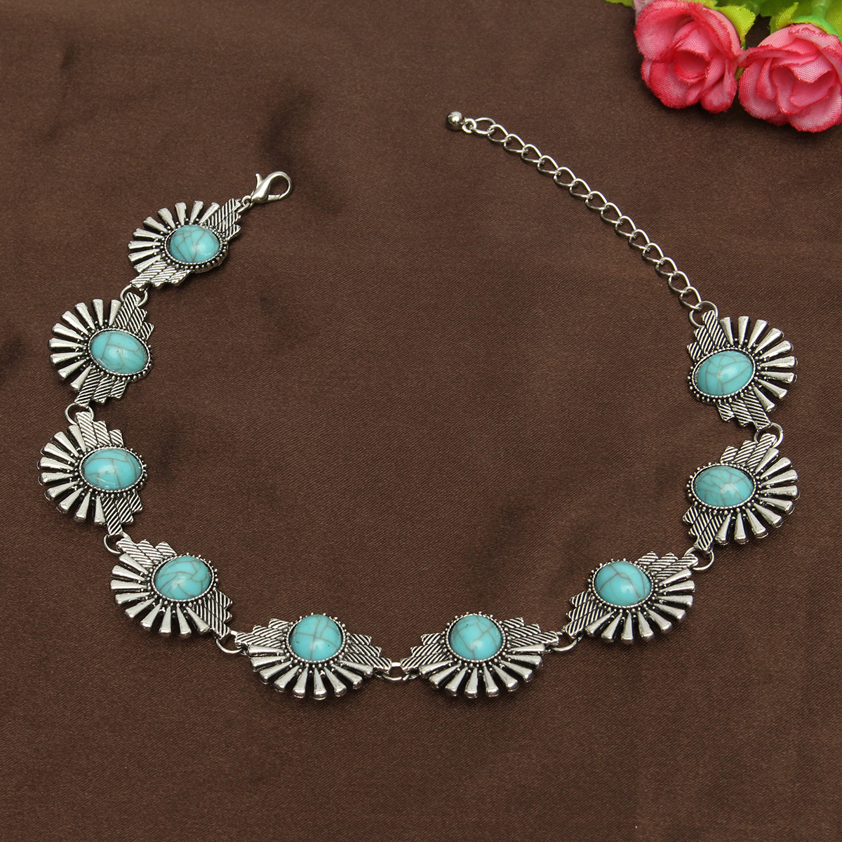 Bohemian Silver Turquoise Beads Collar Choker Necklaces For Women
