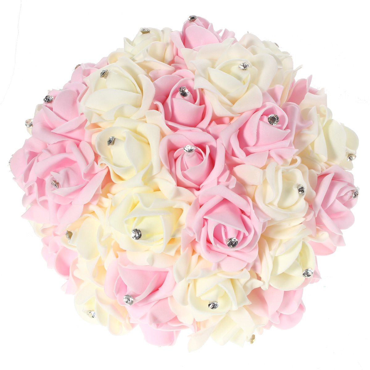 30 Heads Colourfast Foam Roses Crystal Artificial Flower Home Wedding Bride Bouquet Party Decoration