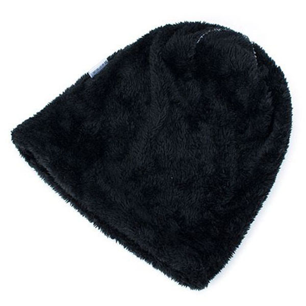 Mens Grids Outdoor Knitted Plus Velvet Lining Beanie Hats