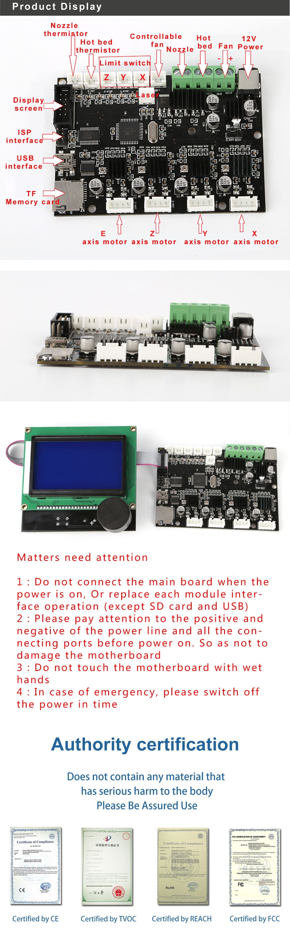 Creality 3D® CR-10 12V 3D Printer Mainboard Control Panel With USB Port & Power Chip