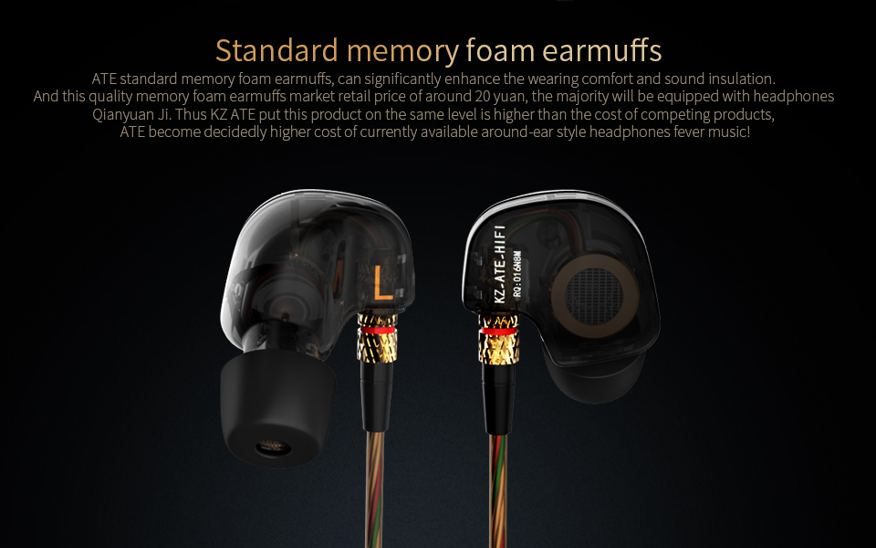 KZ ATE In-ear Heavy Bass HiFi Around Ear Earphone Headphone With Mic