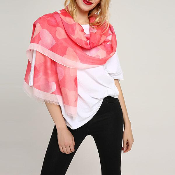 Women Chiffon Hearts Print Infinity Scarf Plus Size Shawl