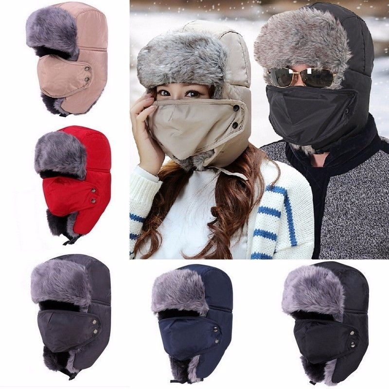 Unisex Russian Faux Fur Pilot Trapper Cap Outdoor Ski Ear Protective Hat With Mouth Mask