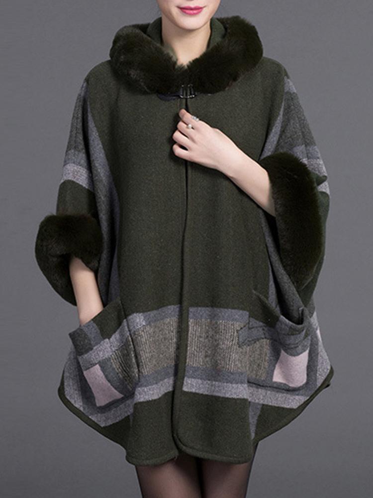 Thick Print 3/4 Sleeve Elegant Coats Shawl