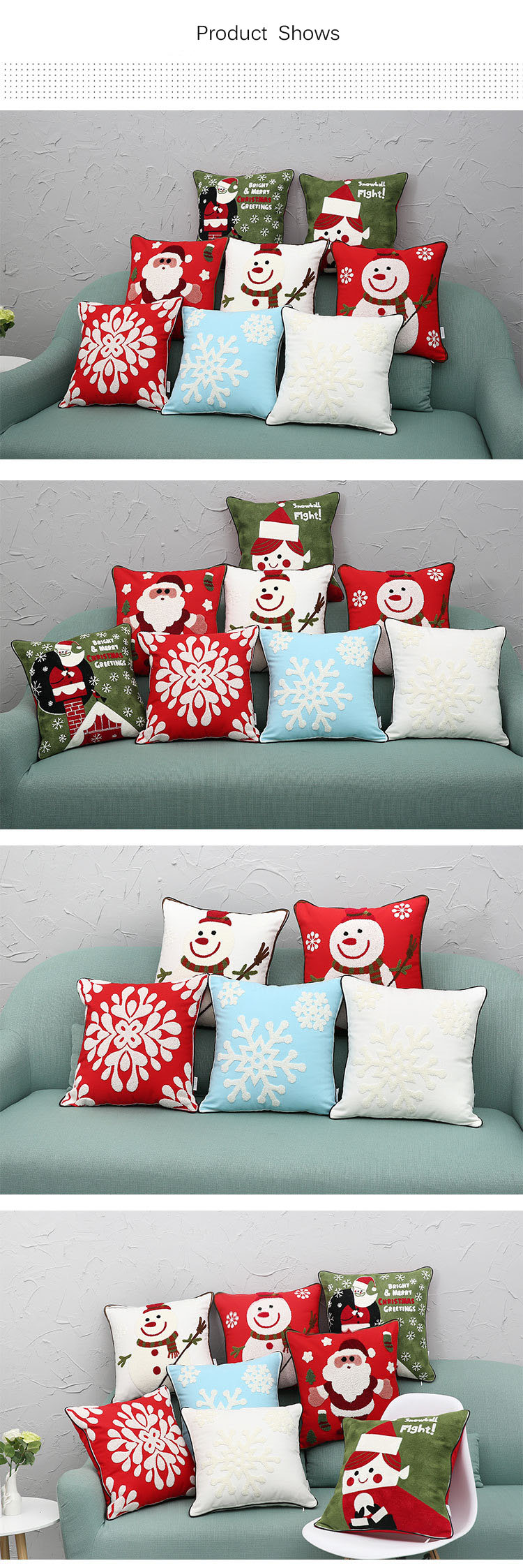 New Christmas Pure Cotton Embroidering Pillow Cases Santa Snowflake Cushion Cover For Sofa Car Home Decorative