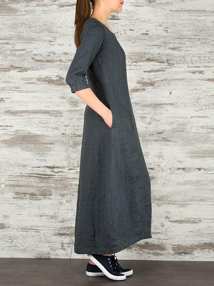 Plus Size Work Crew Neck Three Quarter Sleeve Maxi Dress