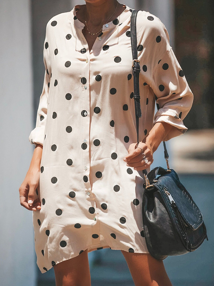 Women Long Sleeve Polka Dot Print Stand Collar Shirt Dress
