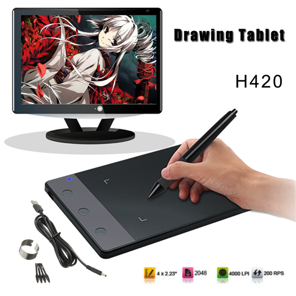 H420 USB Art Design Graphics Drawing Tablet Pad with Digital Pen+USB Cable