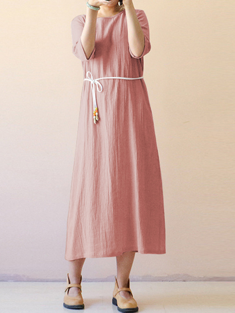 Women Vintage Half Sleeve O-neck Loose Maxi Dress