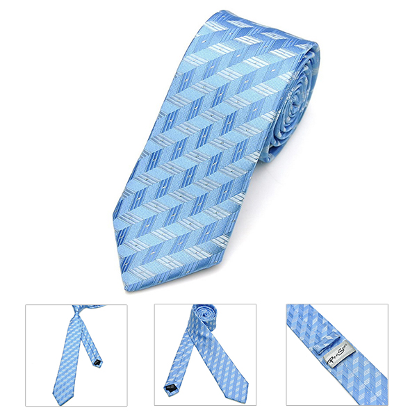 Pensee Mens Self Bow Ties Thin Stripe Polyester Silk Skinny Jacquard Woven Neckties