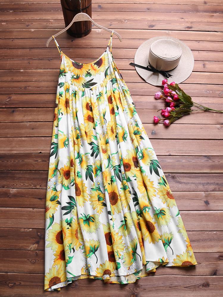 Bohemian Floral Print Spaghetti Straps Dress