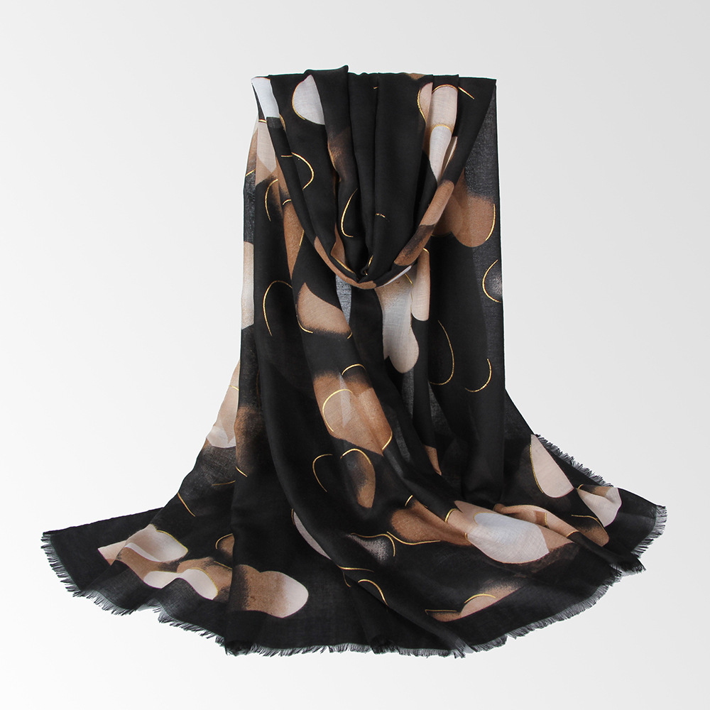 Summer Linen Breathable Heart-Shaped Printed Scarf