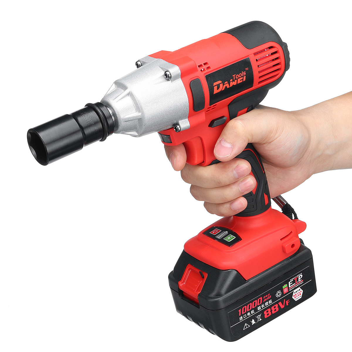 21V Li-ion Electric Impact Wrench Cordless High Torque Power Wrench with 2 Battery