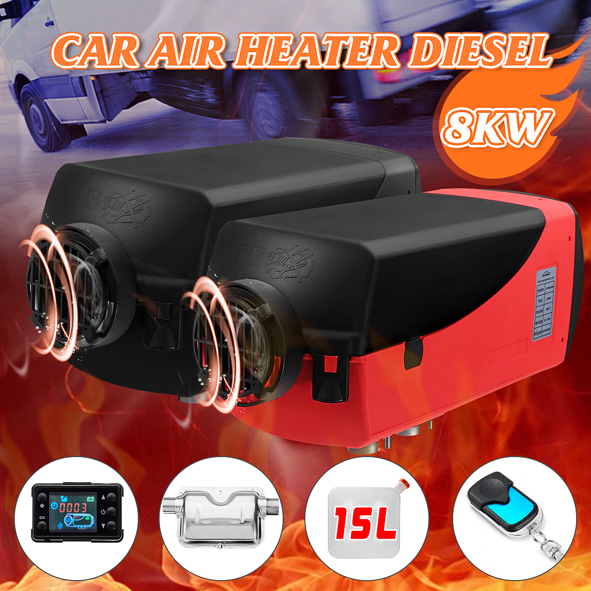 12V 8kw Diesel Parking Air Heater with 15L Fuel Tank Silencer & Remote Control