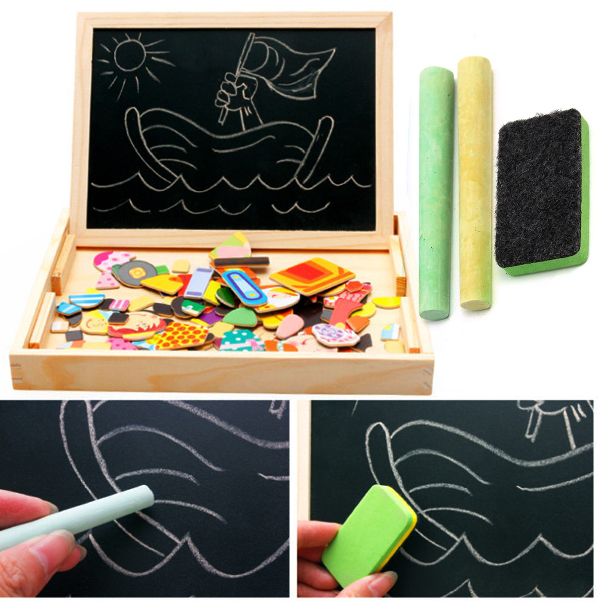 Kids Educational Learning Wooden Magnetic Drawing Board