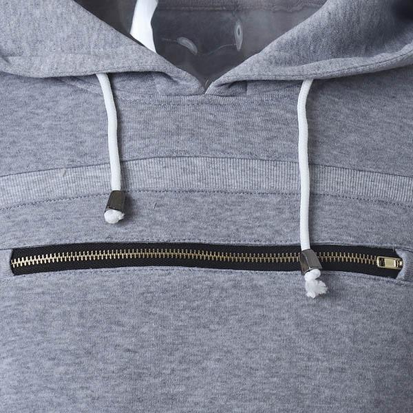 Mens Fashion Casual Spring Autumn Zipper Design Drawstring Hoodies Sweatshirt