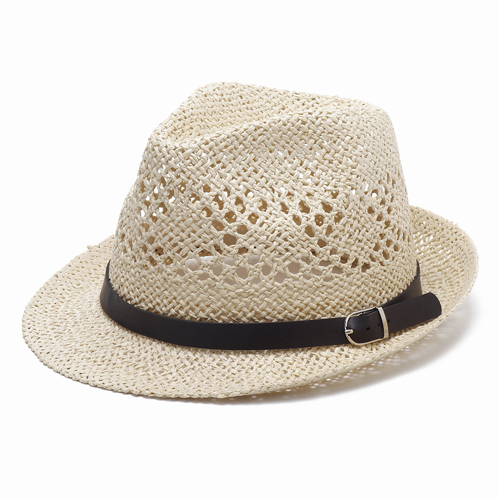 Men Women Personalized Handmade Straw Jazz Hat Hollow