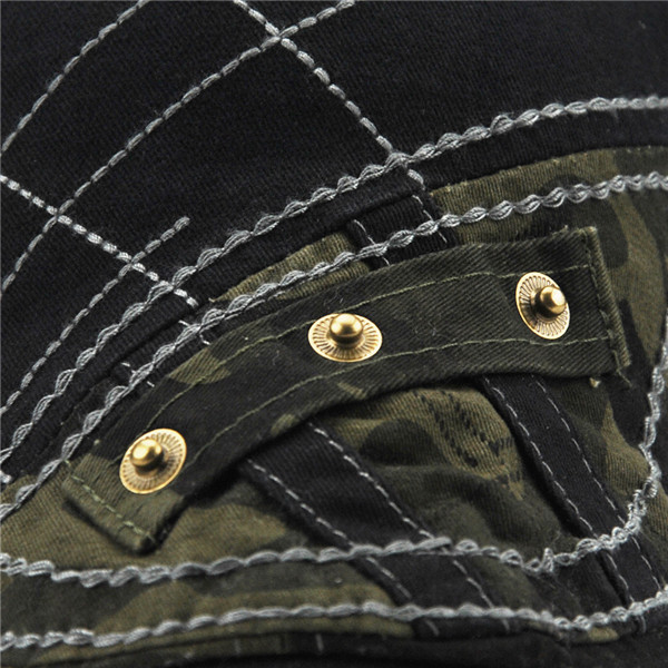 Men Cotton Beret Cap Stripes Embroidery Camouflage Casual Sport Cabbie Hats